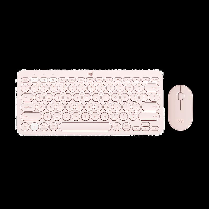 罗技 Pebble鹅卵石鼠标+K380蓝牙键盘 茱萸粉