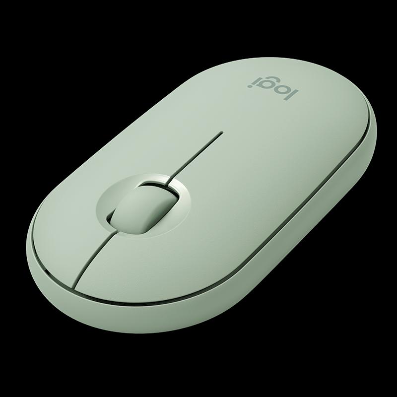 罗技 Pebble鹅卵石轻薄型轻音鼠标 薄荷绿
